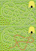 Bees maze — Stock Vector