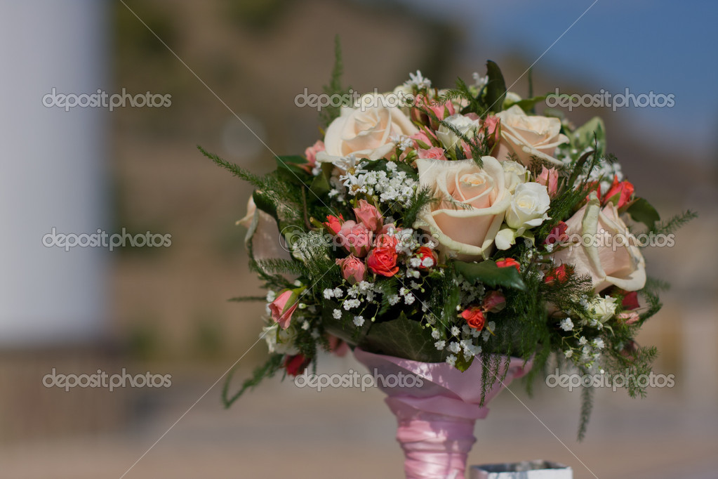 Bridal bouquet(focus on the flowers)  Stock Photo #4750263