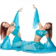 Two young Belly Dancers in a blue costume — Stock Photo
