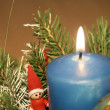 Blue candle christmass decoration — Stock Photo #4074930