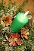 Green candle table decoration — Stok fotoğraf