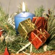 Blue candle christmas decoration - Stock Photo
