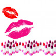 Kisses and lipstick — Stock Photo