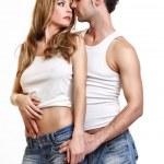 前一个吻激情情侣 — 图库照片