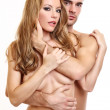 Portrait of a sexy topless couple - Stock Photo