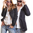 Fashion couple with sunglasses — Stock Photo