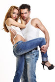 Sexy couple in studio — Stock Photo
