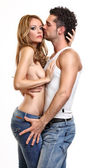 Portrait of a topless lady with her boyfriend — Stock Photo