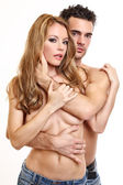 Portrait of a sexy topless couple — Stock Photo