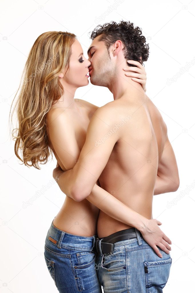 Sexy couple kissing on white background  Stock Photo #4655221