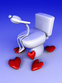 Lovesick in the restroom — Stock Photo