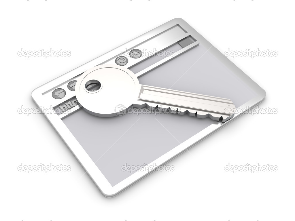 Browser window with a Key. Secure www connection. 3D rendered Illustration. Isolated on white. — Stock Photo #4958090