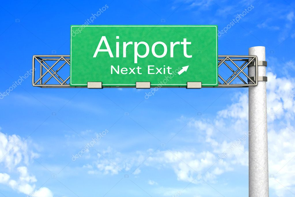 3D rendered Illustration. Highway Sign next exit to the Airport.   — Stock Photo #5114077
