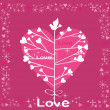 Holidays Tree with hearts. Vector background. — Vettoriali Stock