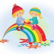 Stock Vector: Cartoon boy and girl on the rainbow
