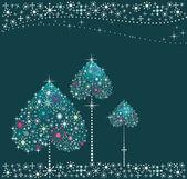 假日树心与雪 — 图库矢量图片