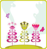 Fairy cartoon flower trees with hearts. — Stock Vector