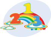 Cartoon vector number 1 2 3 on the rainbow — Stock Vector