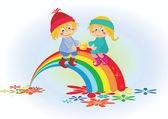 Cartoon boy and girl on the rainbow — Stock Vector