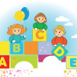 Happy kids with color letter ABCDE — 图库矢量图片