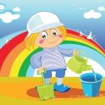 Fanny boy in the beach with rainbow — Stock Vector #4433085