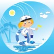 Funny boy captain holiday at the sea with lifebuoy — Stock Vector