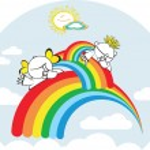 Cartoon kids with rainbow in the sky — Stock Vector