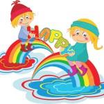 Cartoon happy kids with rainbow — Stock Vector