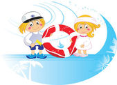 Funny cartoon kids with lifebuoy — Stock Vector