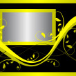 A yellow and silver floral background design - Imagen vectorial