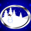 A christmas winter snowman scene - Imagen vectorial