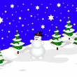 A sky blue christmas scene with a snowman on a snowy background — Stockvektor