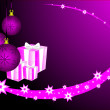 An abstract Christmas vector illustration with purple baubles — Stock Vector