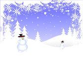 Grunge snögubbe jul scen — Stockvektor