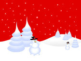 A red christmas scene with a snowman on a snowy background — Stock Vector