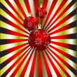 An abstract Christmas vector illustration with red baubles - Stock Vector