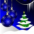 Blue Christmas Baubles Winter Scene — Imagen vectorial