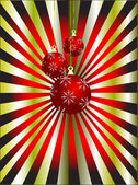 An abstract Christmas vector illustration with red baubles — Stock Vector