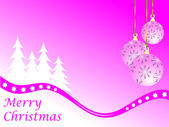Pink Christmas Winter Scene — Stock Vector