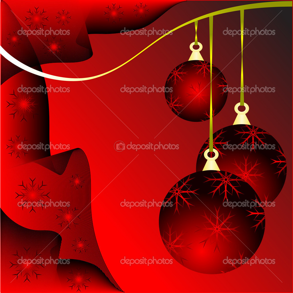 An abstract Christmas vector illustration with red baubles on a darker backdrop with white snowflakes and room for text  Stock Vector #4277893