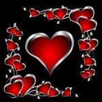um plano de fundo dia dos namorados coração vermelho e prata — Vetorial Stock