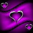 A purple hearts Valentines Day Background — Stock Vector
