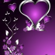 Stock Vector: A purple hearts Valentines Day Background