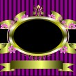 Gold floral frame on a classic purple striped background — Stock Vector