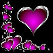 紫色の心バレンタインデーの背景 — ストックベクタ