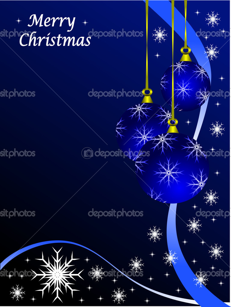 Christmas scene with baubles and snowflakes on a blue background — Stock vektor #4354426