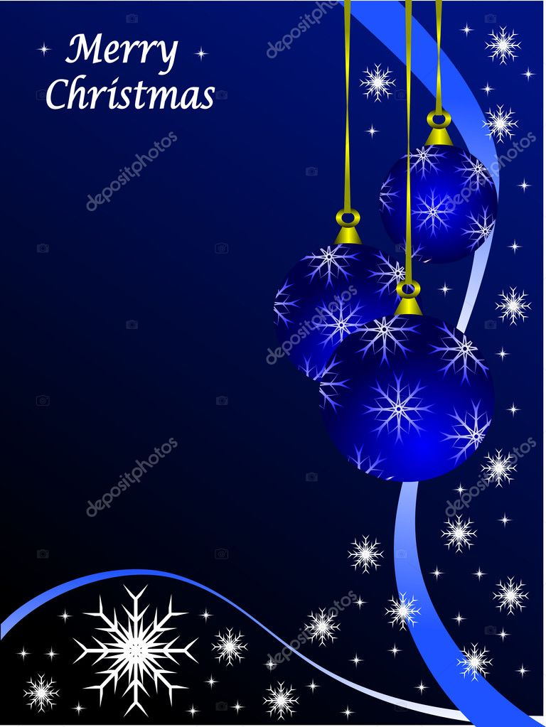 Christmas scene with baubles and snowflakes on a blue background — Imagens vectoriais em stock #4354426