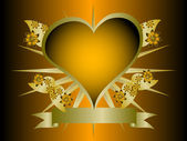 A gothic orange and gold floral hearts design — Stock Vector