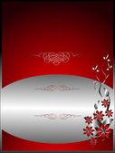 A silver floral menu template design — Stock Vector
