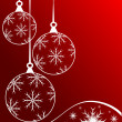 Red Christmas Baubles Background - Stok Vektör